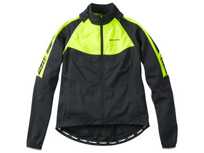 Madison Sportive women's convertible softshell jacket, black / hi-viz yellow